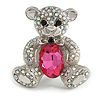 AB Crystal Fuchsia Glass Stone Teddy Bear Brooch/ Pendant In Silver Tone - 45mm Long