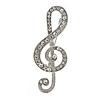 Clear Crystal Treble Clef Brooch In Silver Tone Metal - 45mm Long