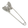 Clear Crystal Butterfly Safety Pin In Silver Tone - 80mm L