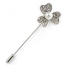 Silver Tone Clear Crystal 3 Petal Flower Lapel, Hat, Suit, Tuxedo, Collar, Scarf, Coat Stick Brooch Pin - 70mm L