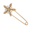 Large Clear Crystal Faux Pearl Flower Safety Pin Brooch In Gold Tone - 70mm Across