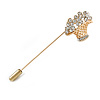 Gold Tone Clear Crystal Floral Basket Lapel, Hat, Suit, Tuxedo, Collar, Scarf, Coat Stick Brooch Pin - 60mm L