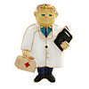 Quirky Enamel Doctor Brooch In Gold Tone (Multicoloured) - 48mm Tall
