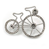 Clear Crystal Bicycle Brooch In Silver Tone Metal - 45mm Across