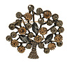 Vintage Inspired Grey/ Citrine Crystal Tree Brooch In Aged Gold Tone Metal - 55mm Tall