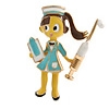 Quirky Enamel Nurse Brooch In Gold Tone (Multicoloured) - 45mm Tall