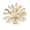 Small Clear Crystal Tree Brooch In Gold Tone - 35mm Across