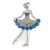 Blue/ Clear Ballerina Brooch In Silver Tone Metal - 45mm Tall