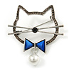 Grey Crystal Open Cat with Blue Bow Brooch in Aged Silver Tone - 50mm Across