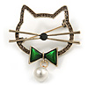 Grey Crystal Open Cat with Green Bow Brooch in Aged Silver Tone - 50mm Across