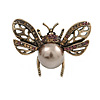 Small Vintage Inspired Crystal Faux Pearl Bug Brooch In Aged Gold Tone - 40mm Across