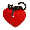 Romantic Black Enamel Cat With Red Enamel Heart Brooch In Gold Tone - 45mm Tall