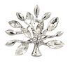 Small Clear Crystal Tree Brooch In Silver Tone - 35mm Across
