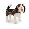 Brown/Black/White Enamel Beagle Puppy Dog Brooch in Gold Tone - 30mm Across