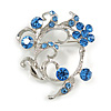 Сornflowerblue Crystal Floral Wreath Brooch In silver Tone Metal - 40mm Across