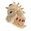 Statement Crystal Horse Head Brooch In Gold Tone Metal - 50mm Tall