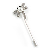 Silver Tone Clear Crystal Glass Pearl Dragonfly Lapel, Hat, Suit, Tuxedo, Collar, Scarf, Coat Stick Brooch Pin - 65mm L