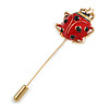 Gold Tone Red/ Black Enamel Ladybird/ Lady Bug Lapel, Hat, Suit, Tuxedo, Collar, Scarf, Coat Stick Brooch Pin - 65mm Long