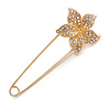 Large Clear Crystal Flower Safety Pin In Gold Tone - 75mm L