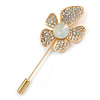 Gold Tone Clear Crystal Assymetrical Flower Lapel, Hat, Suit, Tuxedo, Collar, Scarf, Coat Stick Brooch Pin - 65mm L