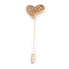 Gold Tone Clear Crystal Asymmetrical Heart Lapel, Hat, Suit, Tuxedo, Collar, Scarf, Coat Stick Brooch Pin - 65mm L