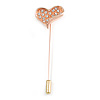 Rose Gold Tone Clear Crystal Asymmetrical Heart Lapel, Hat, Suit, Tuxedo, Collar, Scarf, Coat Stick Brooch Pin - 65mm L