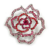 Stunning Pink/ Magenta Crystal Rose Brooch In Silver Tone - 50mm Diameter