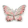 Pink Diamante Enamel Butterfly Brooch In Silver Tone - 50mm Across