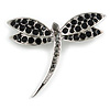 Classic Black Crystal Dragonfly Brooch In Silver Tone - 60mm Across