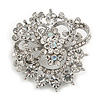 Striking Clear Diamante Corsage Brooch In Silver Tone - 50mm Diameter