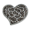 White Rose Motif In The Black Hematite Crystal Heart Brooch In Gun Metal - 50mm Across