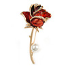 Large Red Enamel Crystal Rose Brooch In Gold Tone Metal - 65mm Long