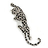 Large Silver Tone Black Enamel Crystal Leopard Brooch - 10cm Long