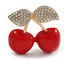 Red Enamel Clear Crystal Double Cherry Brooch In Gold Tone - 35mm Across