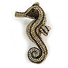 Black/ Ab Crystal Seahorse Brooch in Aged Gold Tone Metal - 70mm Tall