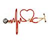 Gold Tone Red Enamel Heartbeat Brooch - 60mm Across