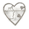 Clear Crystal Open Heart Brooch In Silver Tone - 40mm Tall