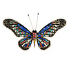 Statement Multicoloured Crystal Butterfly Brooch In Gold Tone - 85mm Across