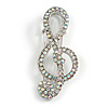 AB Crystal Treble Clef Safety Pin Brooch In Silver Tone - 50mm Long
