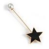 Black Acrylic Star, Pearl Bead Lapel, Hat, Suit, Tuxedo, Collar, Scarf, Coat Stick Brooch Pin In Gold Tone Metal - 65mm L