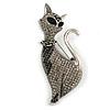 Black/ Grey Crystal Kitty/ Cat Brooch In Silver Tone Metal - 70mm Tall