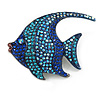 Statement Crystal Fish Brooch In Gun Metal Finish In Blue - 55mm Long