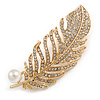 Clear Crystal White Pearl Feather Brooch/ Pendant in Gold Tone - 65mm Long