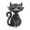 Black/ Hematite Grey Crystal Kitty/ Cat Brooch/ Pendant in Silver Tone - 50mm Tall