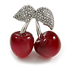 Clear Crystal Red Resin Double Cherry Brooch In Silver Tone - 35mm Tall