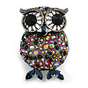 Vintage Inspired Red/ Blue Crystal Owl Brooch In Aged Silver Tone - 50mm Tall