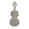 Silver Tone Clear Crystal Violin Musical Instrument Brooch - 45mm Tall