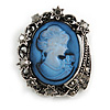 Vintage Inspired Hematite Diamante Blue Cameo Brooch in Aged Silver Tone - 40mm Long