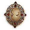 Vintage Inspired Filigree Amber/ Citrine Crystal Oval Beige Cameo Brooch in Aged Gold Tone - 45mm Tall
