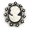 Vintage Inspired Clear Crystal Oval Black/ White Acrylic Cameo In Aged Silver Tone Metal - 55mm L